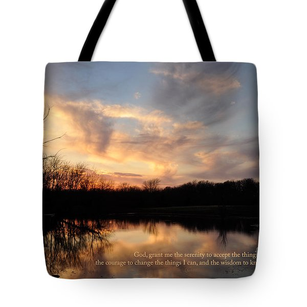 Serenity Prayer Quote Tote Bag