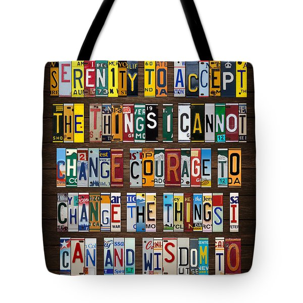 Serenity Prayer Reinhold Niebuhr Recycled Vintage American License Plate Letter Art Tote Bag by Design Turnpike