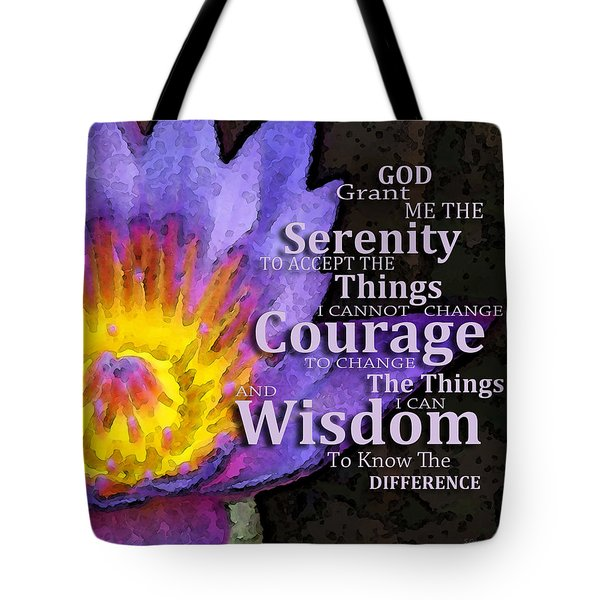 Serenity Prayer With Lotus Flower By Sharon Cummings Tote Bag