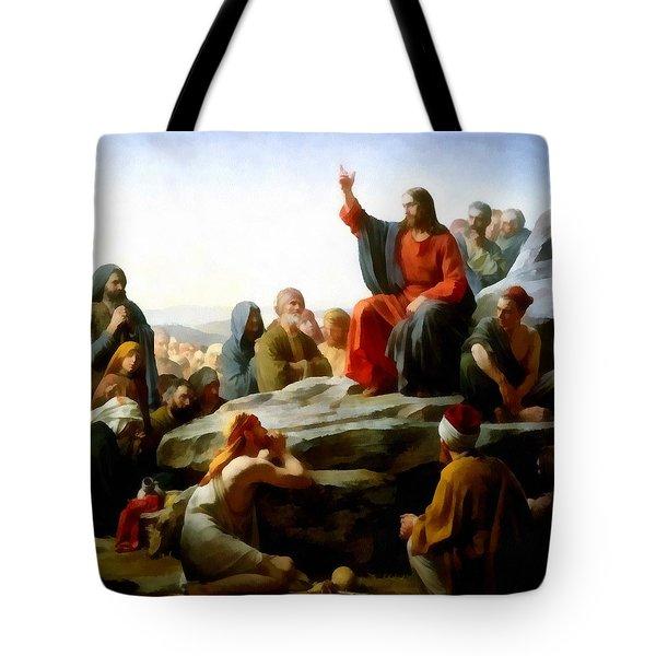 Sermon On The Mount Watercolor Tote Bag by Carl Bloch