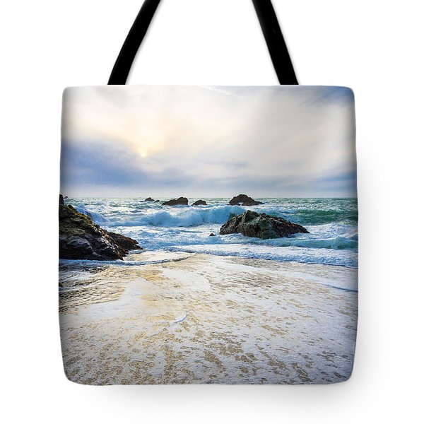 Setting Sun And Rising Tide Tote Bag
