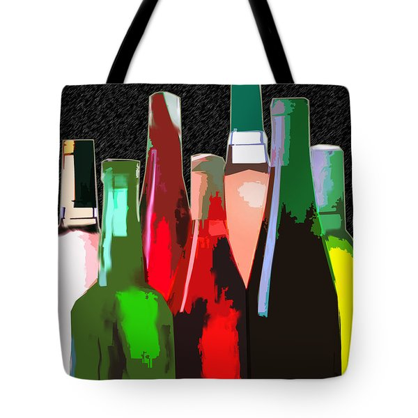 Seven Bottles Of Wine On The Wall Tote Bag by Elaine Plesser