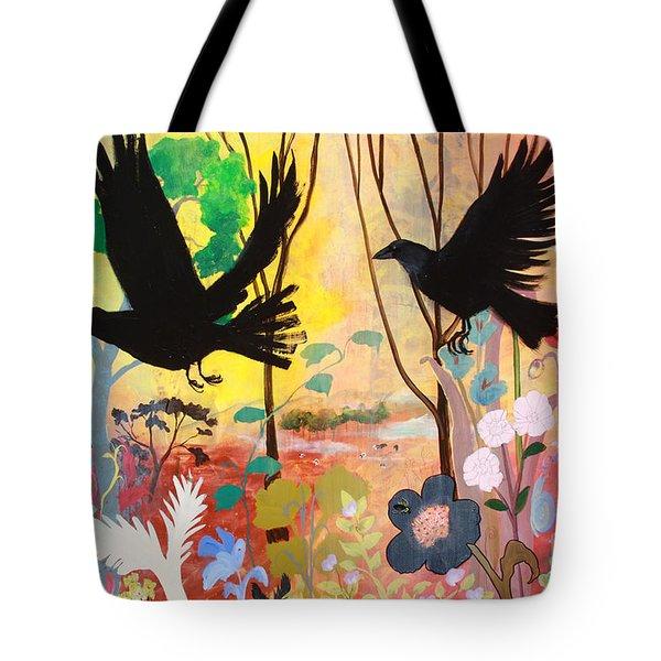 Seven Circling Crows Tote Bag by Robin Maria Pedrero