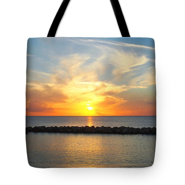 Tote Bag featuring the photograph Seven Mile Sunset Over Grand Cayman by Amy McDaniel