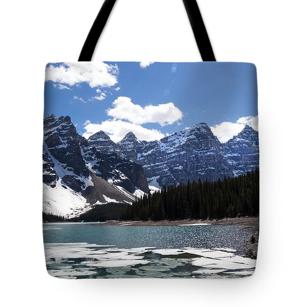 Seven Sisters At Moraine Lake Tote Bag by Angela Boyko