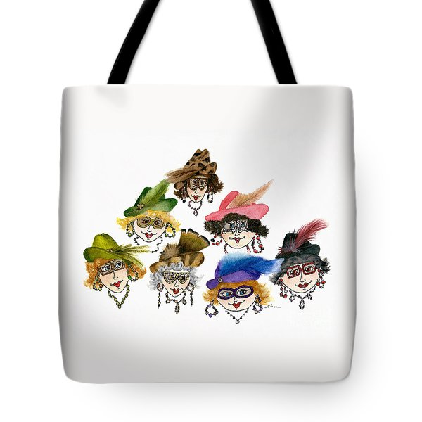 Seven Whimsical Ladies In Hats And Jewelry Tote Bag by Nan Wright