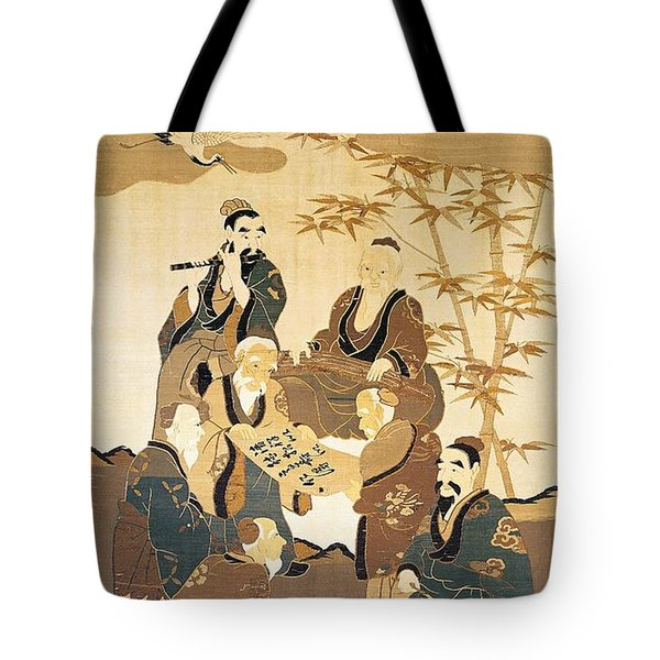 Seven Wise Men In The Bamboo Forest Painted Silk Tote Bag