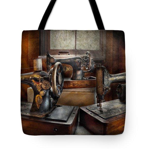 Sewing - A Chorus Of Three Tote Bag by Mike Savad