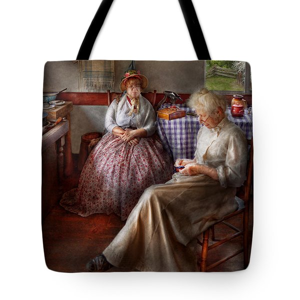 Sewing - I Can Watch Her Sew For Hours Tote Bag by Mike Savad