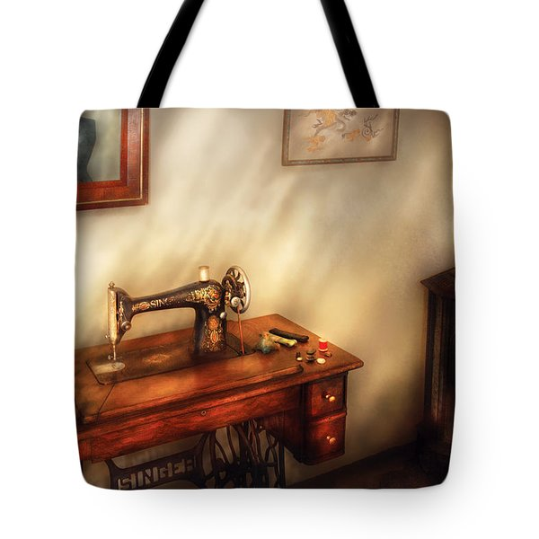 Sewing Machine - Sewing In A Cozy Room  Tote Bag by Mike Savad