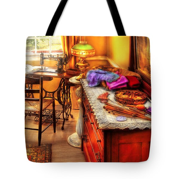 Sewing Machine  - The Sewing Room Tote Bag by Mike Savad