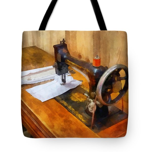 Sewing Machine With Orange Thread Tote Bag by Susan Savad