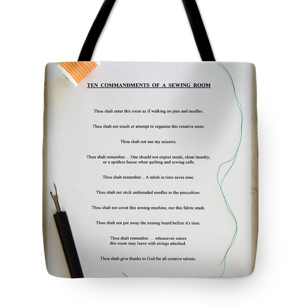 Sewing Room Sign Tote Bag by Sally Weigand