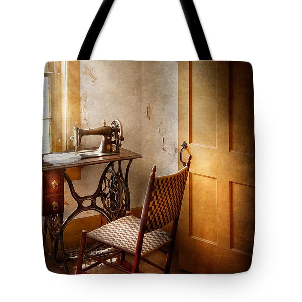 Sewing - She Used To Love This Machine Tote Bag by Mike Savad