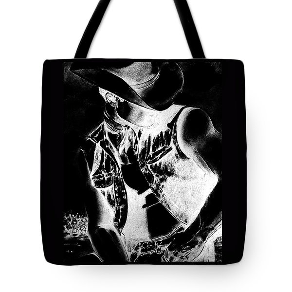 Print With Black And White Sexy Cowboy  Tote Bag