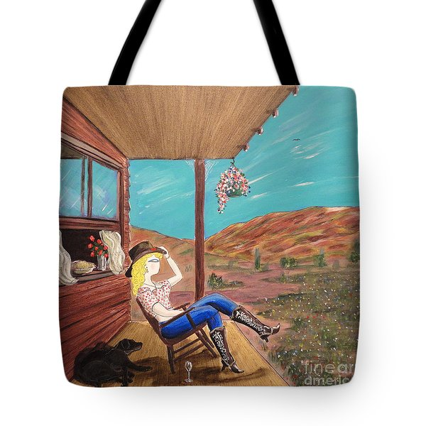 Sexy Cowgirl Sitting On A Chair At High Noon Tote Bag by John Lyes
