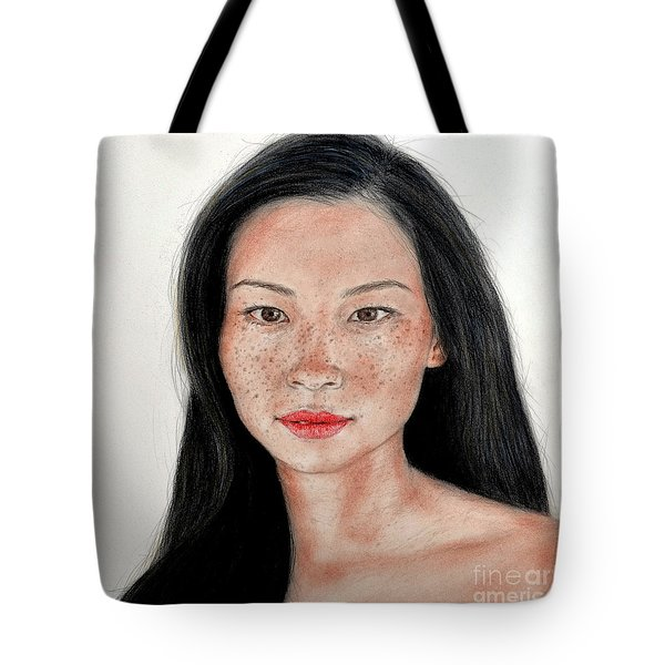 Tote Bag featuring the drawing Sexy Freckle Faced Beauty Lucy Liu by Jim Fitzpatrick