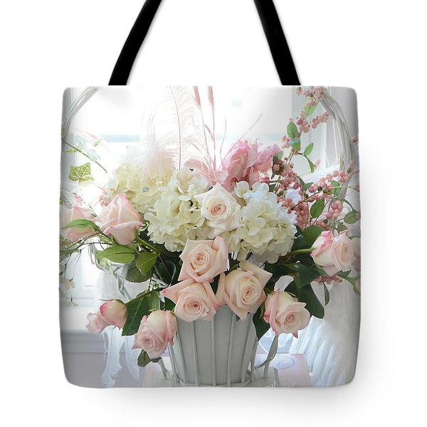 Shabby Chic Basket Of White Hydrangeas - Pink Roses - Dreamy Shabby Chic Floral Basket Of Roses Tote Bag by Kathy Fornal