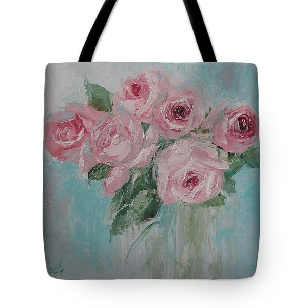 Shabby Chic Pink Roses Oil Palette Knife Painting Tote Bag