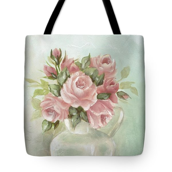 Shabby Chic Pink Roses Painting On Aqua Background Tote Bag