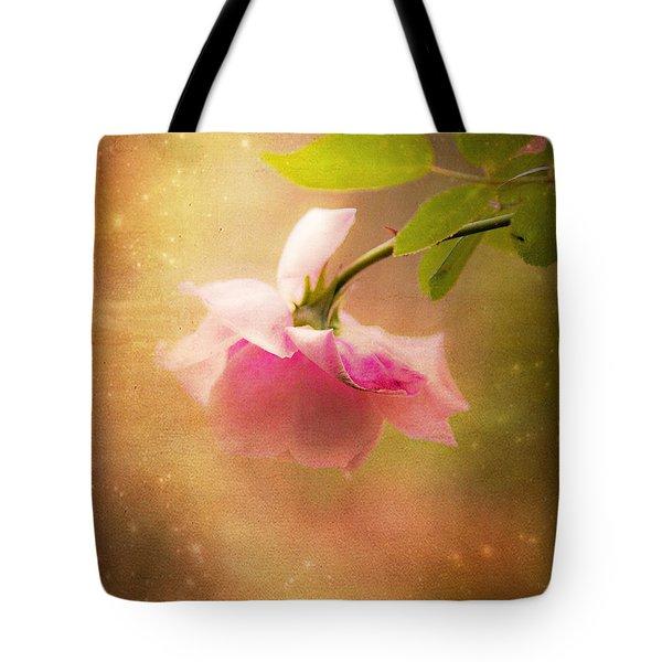 Shabby Chic Rose Print Tote Bag by Theresa Tahara