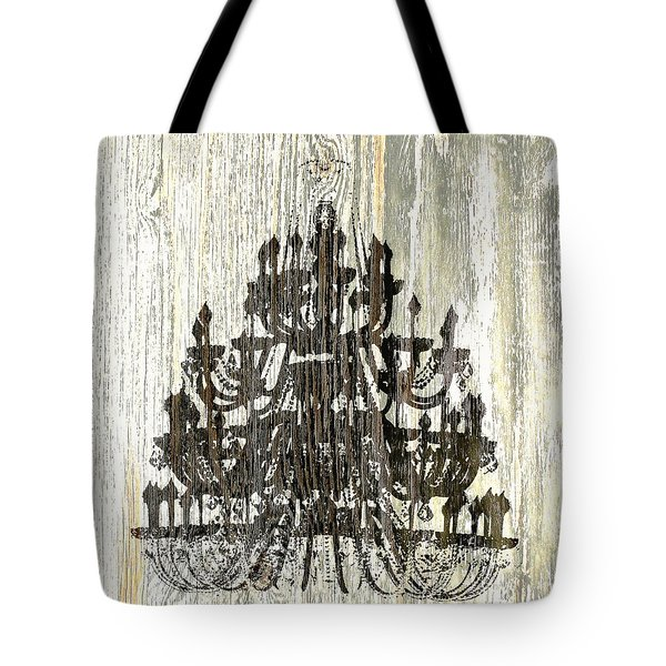 Tote Bag featuring the photograph Shabby Chic Rustic Black Chandelier On White Washed Wood by Suzanne Powers
