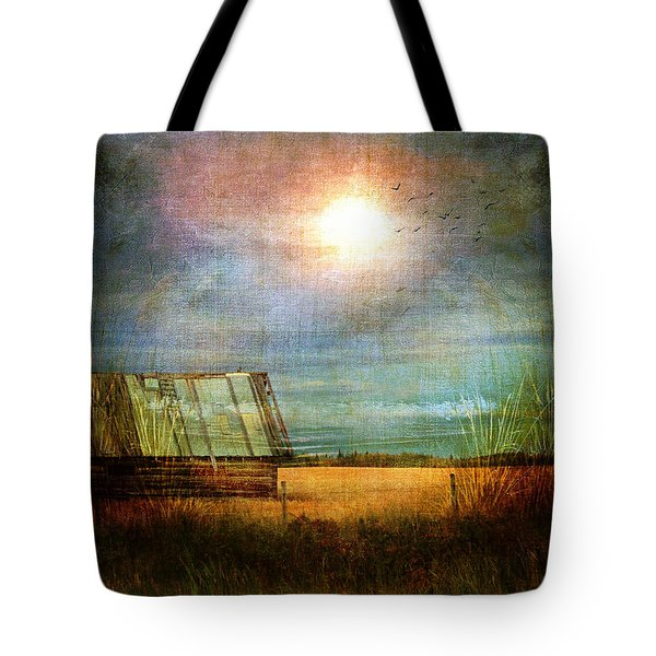 Tote Bag featuring the photograph Shack On The Prairie Corner  by Sandra Foster