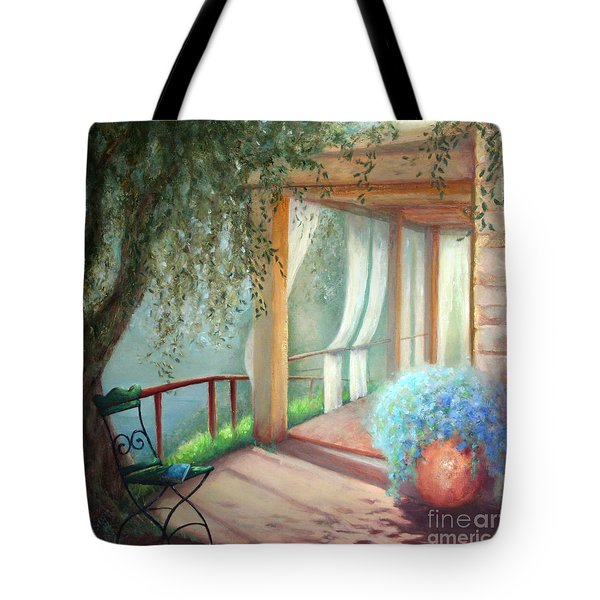 Tote Bag featuring the painting Shade Of The Olive Tree by Michael Rock