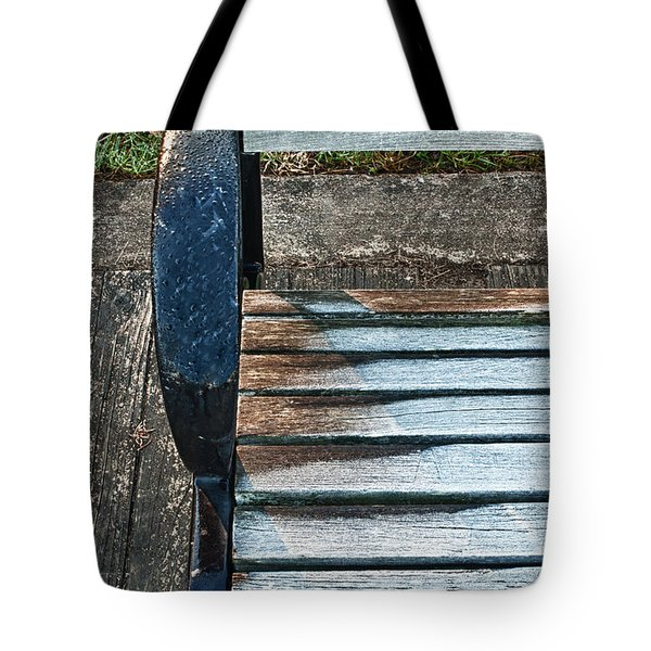 Tote Bag featuring the photograph Shadow Protecting Frost On Bench by Gary Slawsky
