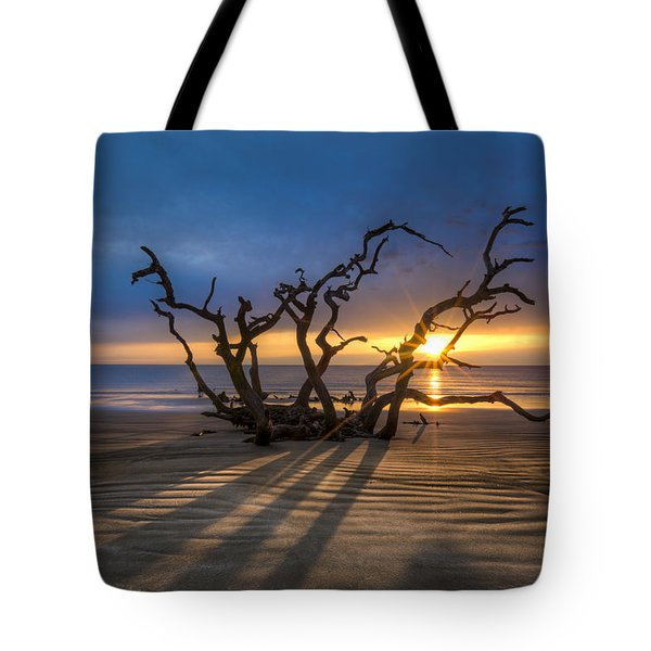Shadows On The Sand Tote Bag by Debra and Dave Vanderlaan