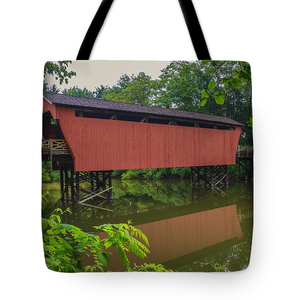 Shaeffer Or Campbell Covered Bridge Tote Bag by Jack R Perry