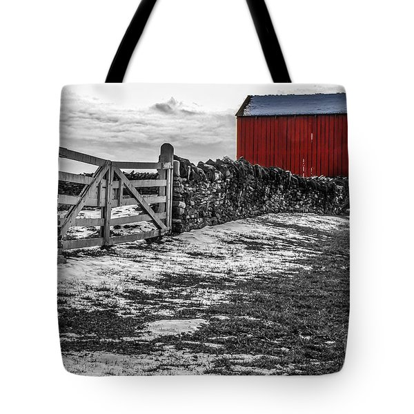Shakertown Red Barn - Sc Tote Bag by Mary Carol Story