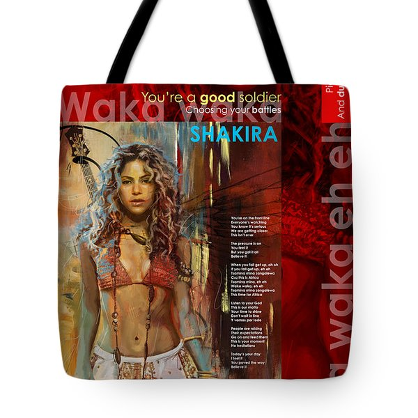 Shakira Art Poster Tote Bag by Corporate Art Task Force