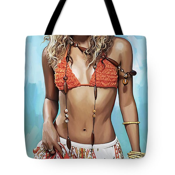 Tote Bag featuring the painting Shakira Artwork by Sheraz A