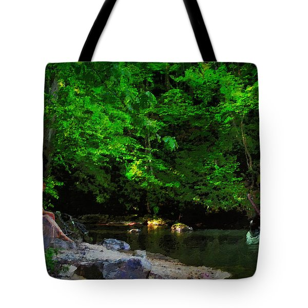 Shall We Gather At The River Tote Bag by Lianne Schneider