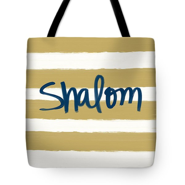 Shalom- Blue With Gold Tote Bag