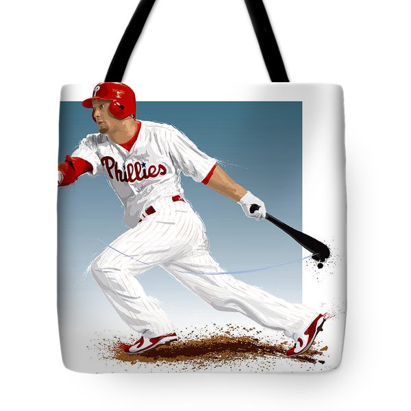 Tote Bag featuring the digital art Shane Victorino by Scott Weigner