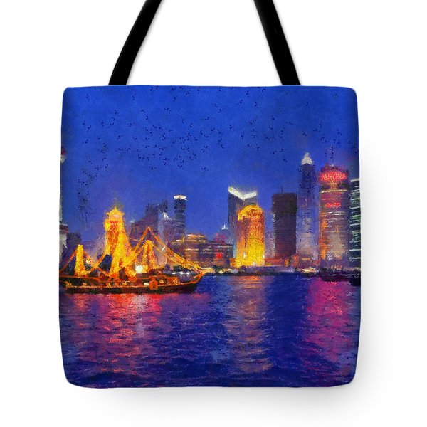 Shanghai During Dusk Time Tote Bag