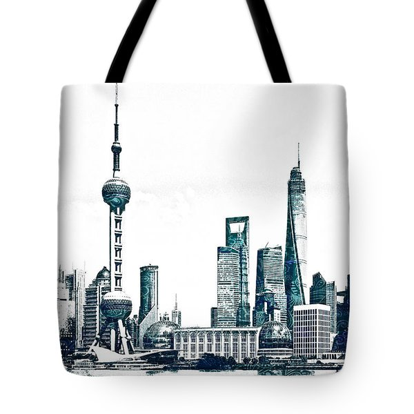 Shanghai Skyline Tote Bag
