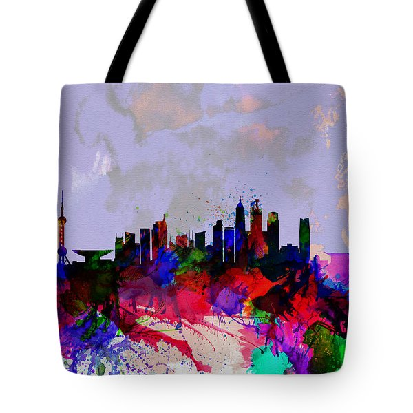 Shanghai Watercolor Skyline Tote Bag