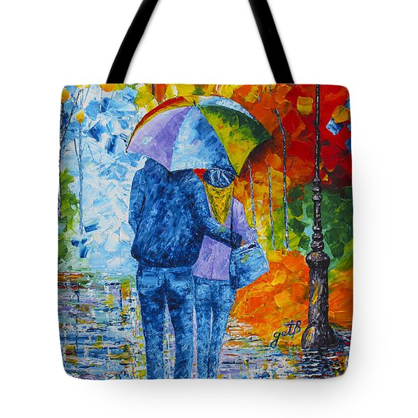 Tote Bag featuring the painting Sharing Love On A Rainy Evening Original Palette Knife Painting by Georgeta Blanaru
