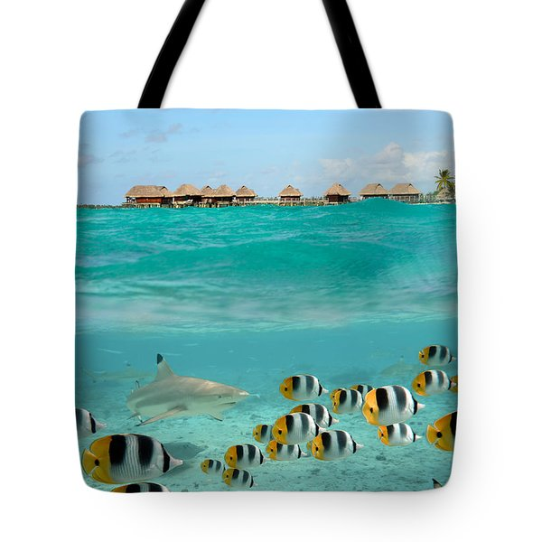 Over-under With Shark And Butterfly Fish At Bora Bora Tote Bag
