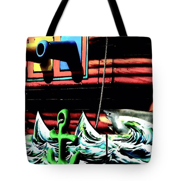Tote Bag featuring the photograph Shark And Pirate Ship Pop Art Posterized Photo by Marianne Dow