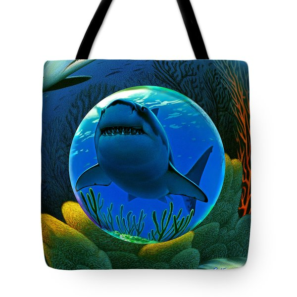 Shark World  Tote Bag by Robin Moline