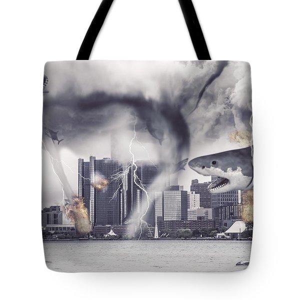 Tote Bag featuring the photograph Sharknado Detroit by Nicholas  Grunas