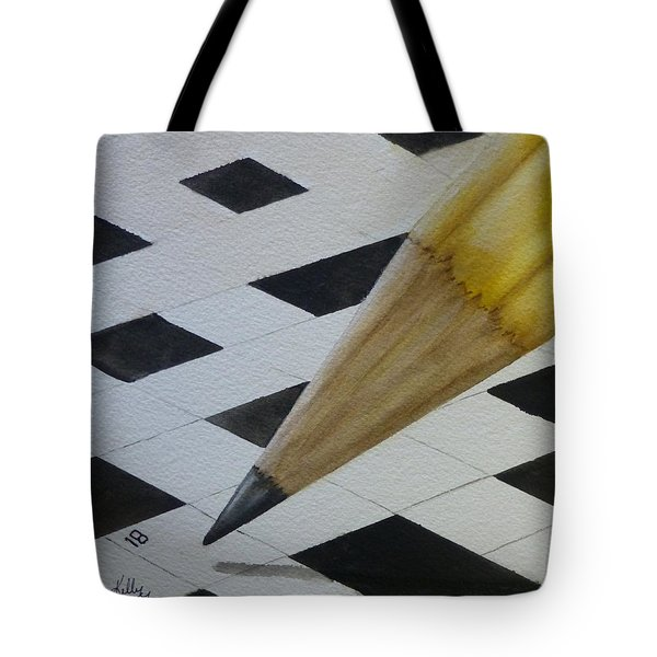 Tote Bag featuring the painting Sharpen Your Pencil For This Puzzle by Kelly Mills