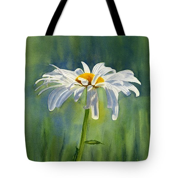 Shasta Daisy Flower With Blue Green Background Tote Bag by Sharon Freeman