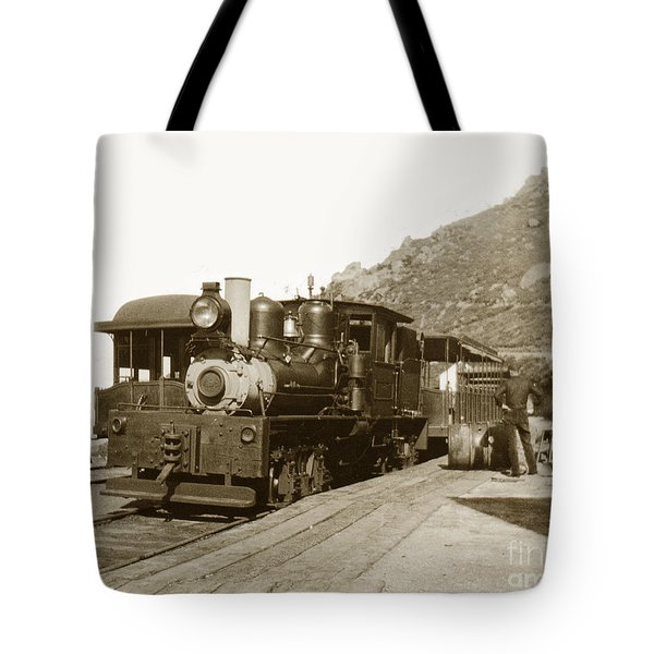 Tote Bag featuring the photograph Shay No. 498 At The Summit Of Mt. Tamalpais Marin Co California Circa 1902 by California Views Mr Pat Hathaway Archives