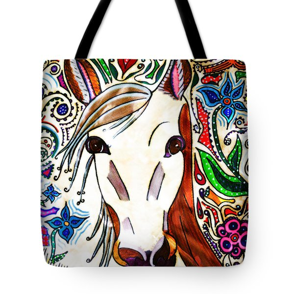 She Grazes Where Flowers Grow - Horse Tote Bag