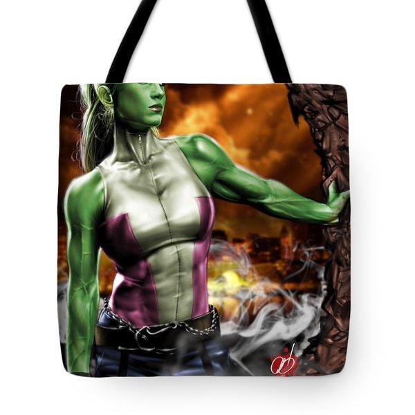 She-hulk Tote Bag by Pete Tapang